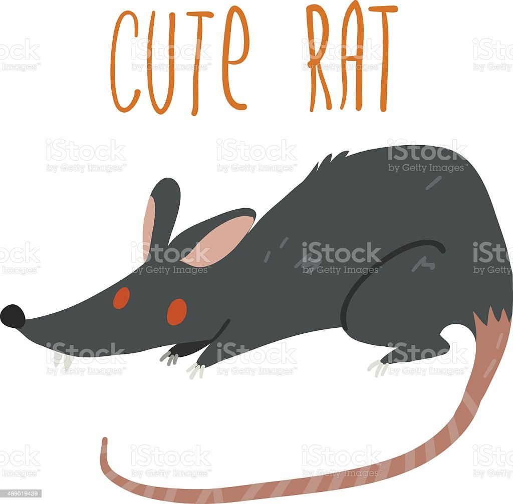 Vector cartoon cute black rat icon. vector art illustration