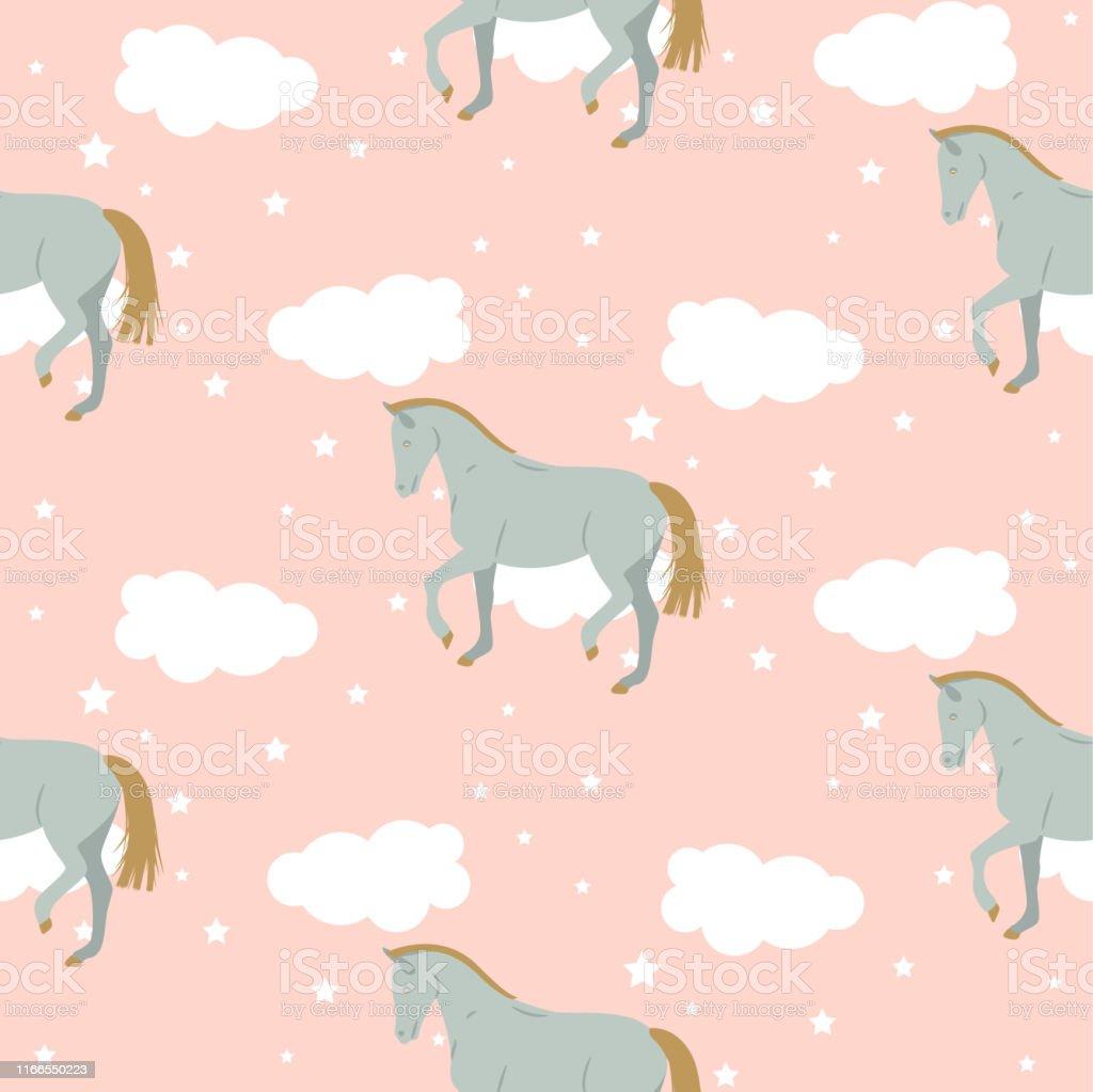 Vector Cartoon Cute Kid Horse Pattern Pastel Nursery Colors