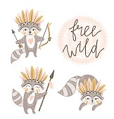Vector cartoon cute racсoons and stylish handwritten text - 'free wild'. Funny elements for greeting cards, posters or prints.