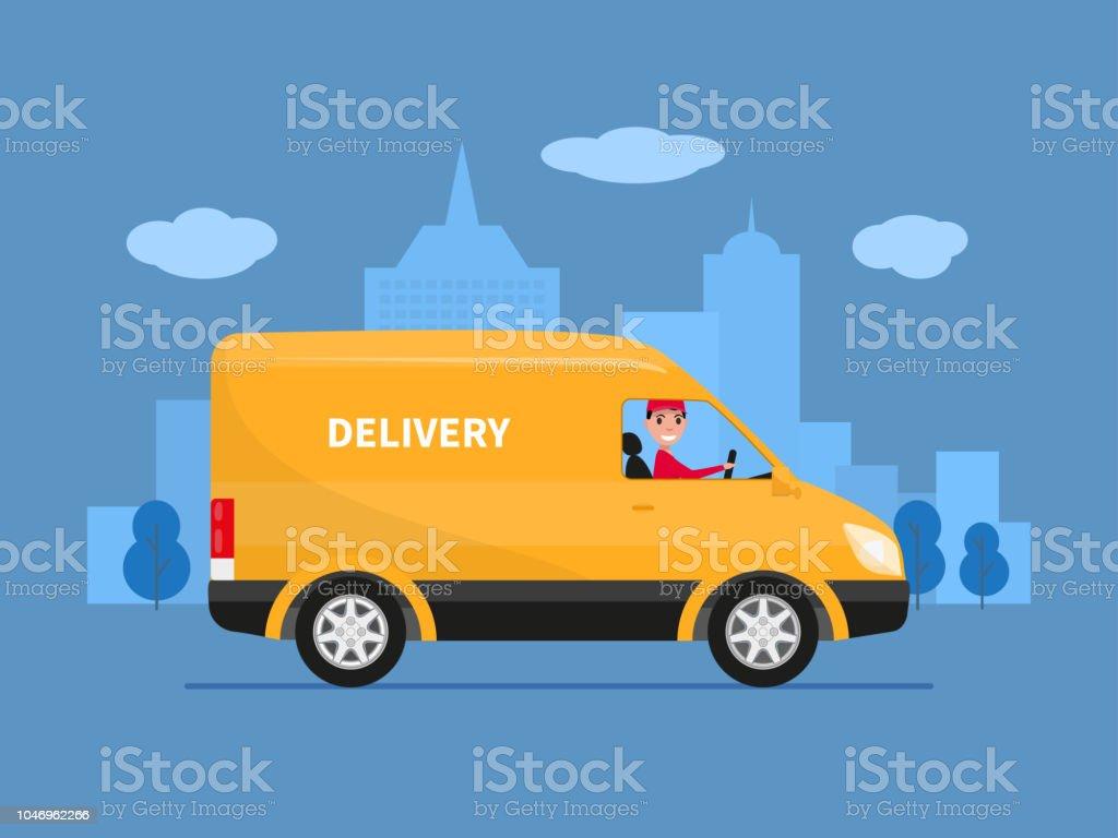 Camionnette De Livraison De Dessin Animé De Vecteur Avec