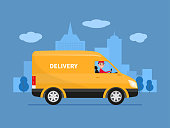 Vector cartoon delivery van with deliveryman