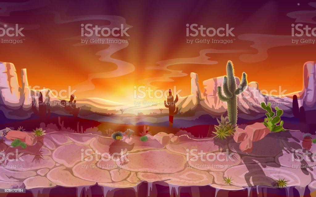 Vector Cartoon Wüste nahtlose Spiel-Hintergrund – Vektorgrafik