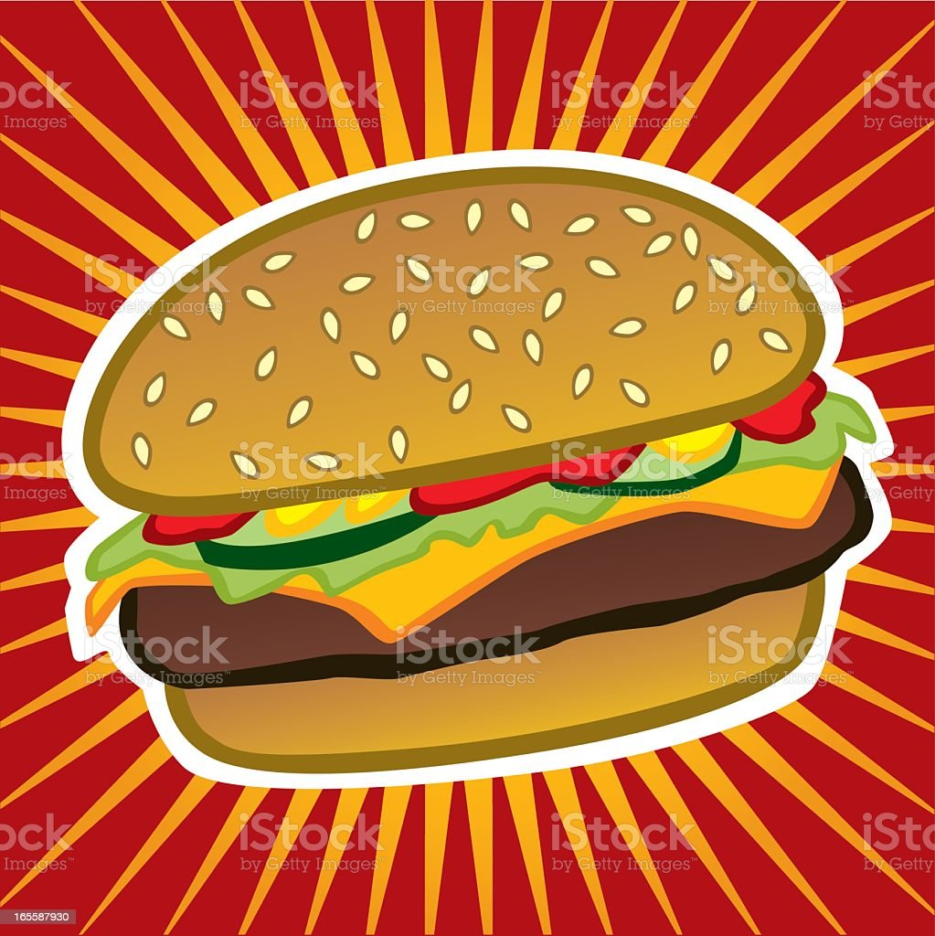 Vector cartoon design of cheeseburger vector art illustration