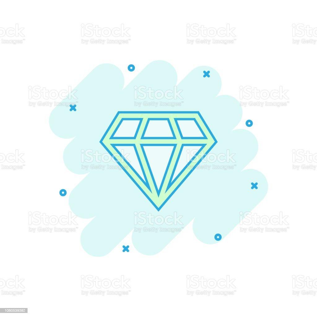 ベクトル漫画ダイヤモンド宝石宝石コミック スタイルのアイコン