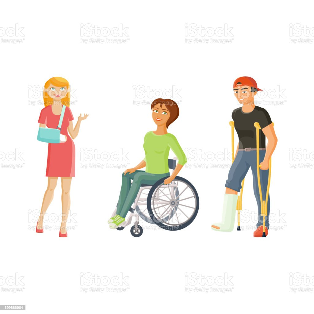 vector cartoon disabled people set vector art illustration