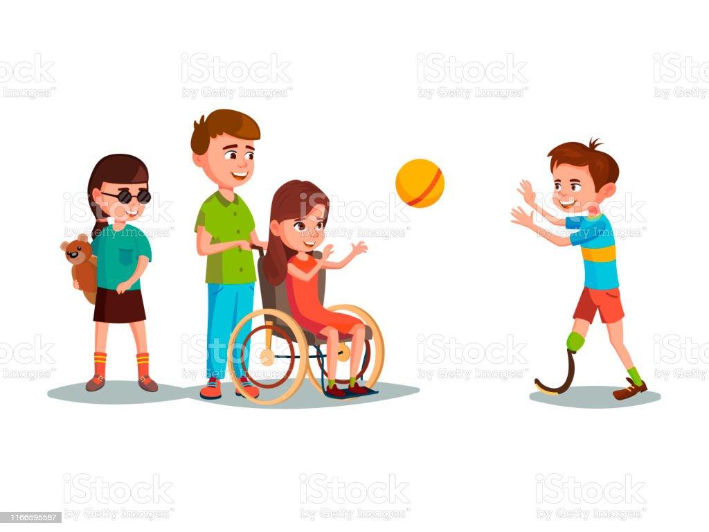 Enfant De Ladolescence Handicapé De Dessin Animé De Vecteur