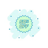 Vector cartoon discount sticker icon in comic style. Sale tag illustration pictogram. Promotion 50 percent discount splash effect concept.