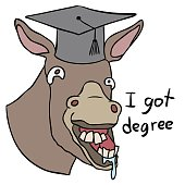 vector cartoon donkey degree stupid