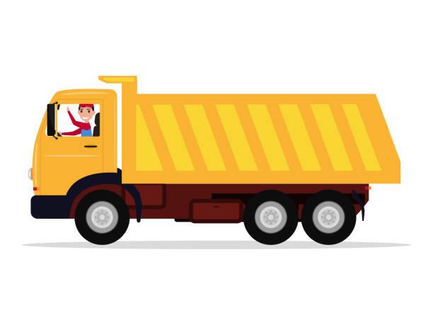 ilustraciones, imágenes clip art, dibujos animados e iconos de stock de controlador de vectores de dibujos animados paseos en un carro grande - conductor de autobús
