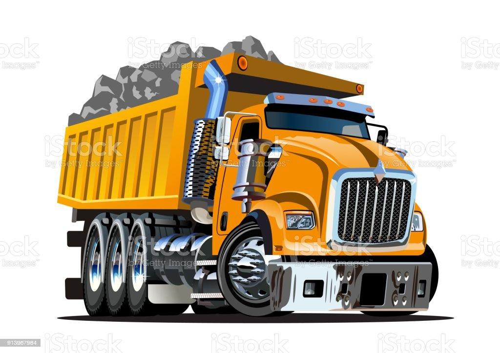 Vector Cartoon Dump Truck vector art illustration