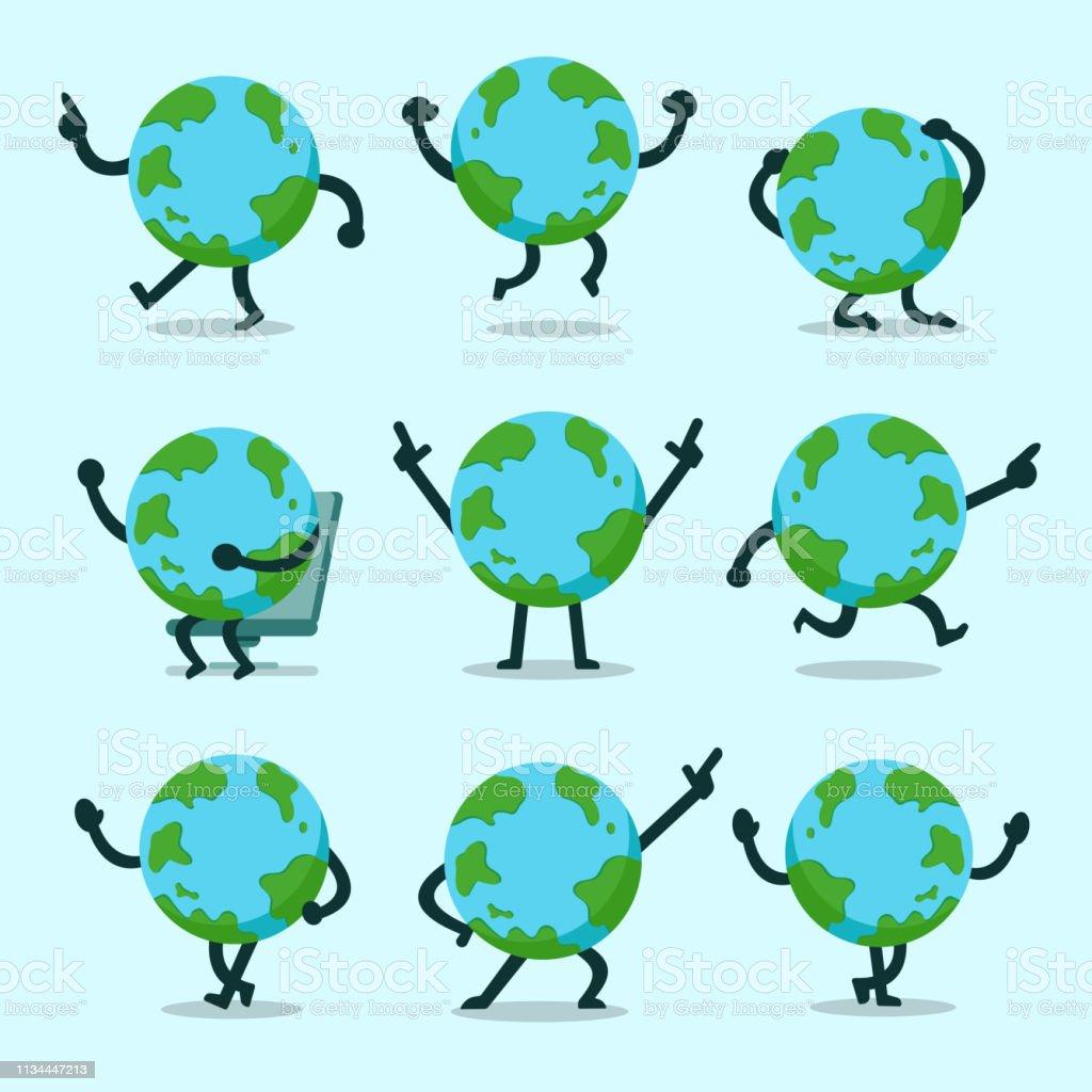 向量動畫片地球字元姿勢集合 - 免版稅一組物體圖庫向量圖形