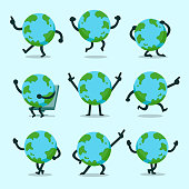 Vector cartoon earth character poses set for design.
