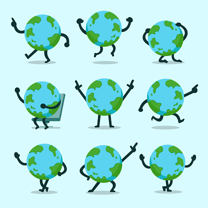 Vector cartoon earth character poses set