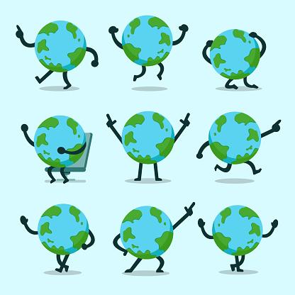 向量動畫片地球字元姿勢集合向量圖形及更多一組物體圖片