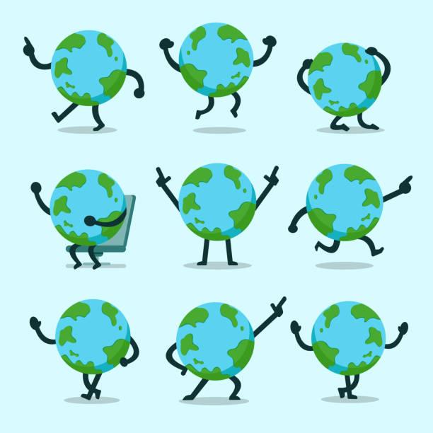 stockillustraties, clipart, cartoons en iconen met vector cartoon earth karakter poses set - menselijke ledematen
