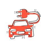 Vector cartoon electro car icon in comic style. Electric automobile vehicle illustration pictogram. Ecology car sedan splash effect concept.