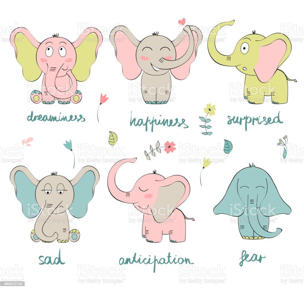 ilustração de elefantes dos desenhos animados do vetor e mais banco