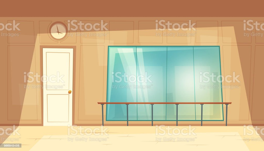 Vector cartoon empty dance-hall with mirrors vector art illustration