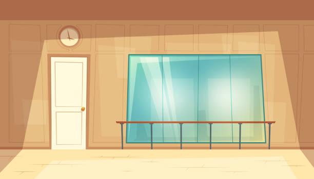 vector cartoon empty dance-hall with mirrors - sala balowa stock illustrations