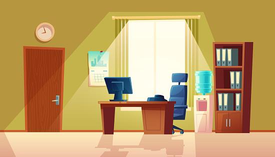 Vector cartoon empty office with window, modern interior