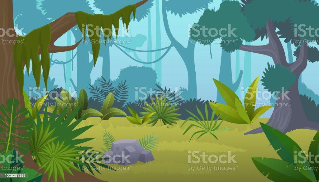 Vector cartoon empty tropical rainforest Jungle background. - Векторная графика Без людей роялти-фри