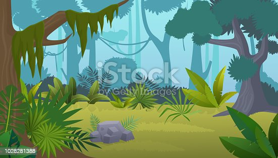 Vector cartoon empty tropical rainforest Jungle background