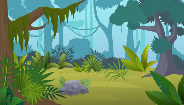 vector cartoon empty tropical rainforest jungle background. - jungle stock illustrations