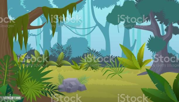Vector Cartoon Empty Tropical Rainforest Jungle Background — стоковая векторная графика и другие изображения на тему Без людей