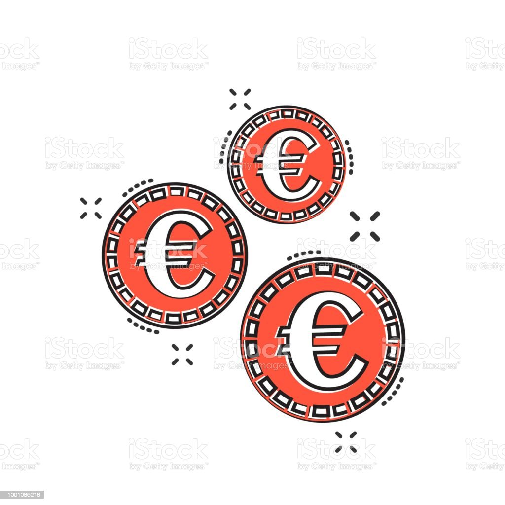 Vector Cartoon Euro Coins Icon In Comic Style Money Coin Sign