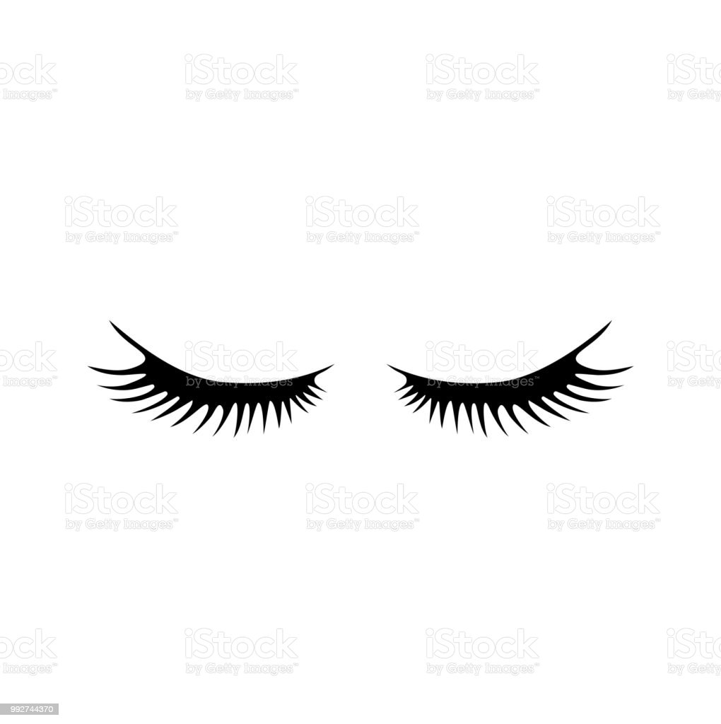 Vector Cartoon Eyelashes Setlong Fake Eyelashes Extensionclosed