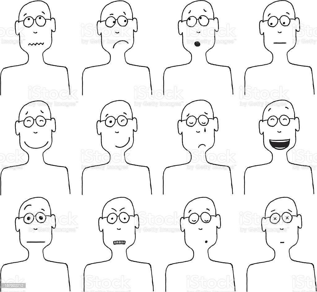 Vector cartoon faces and emotions royalty-free stock vector art