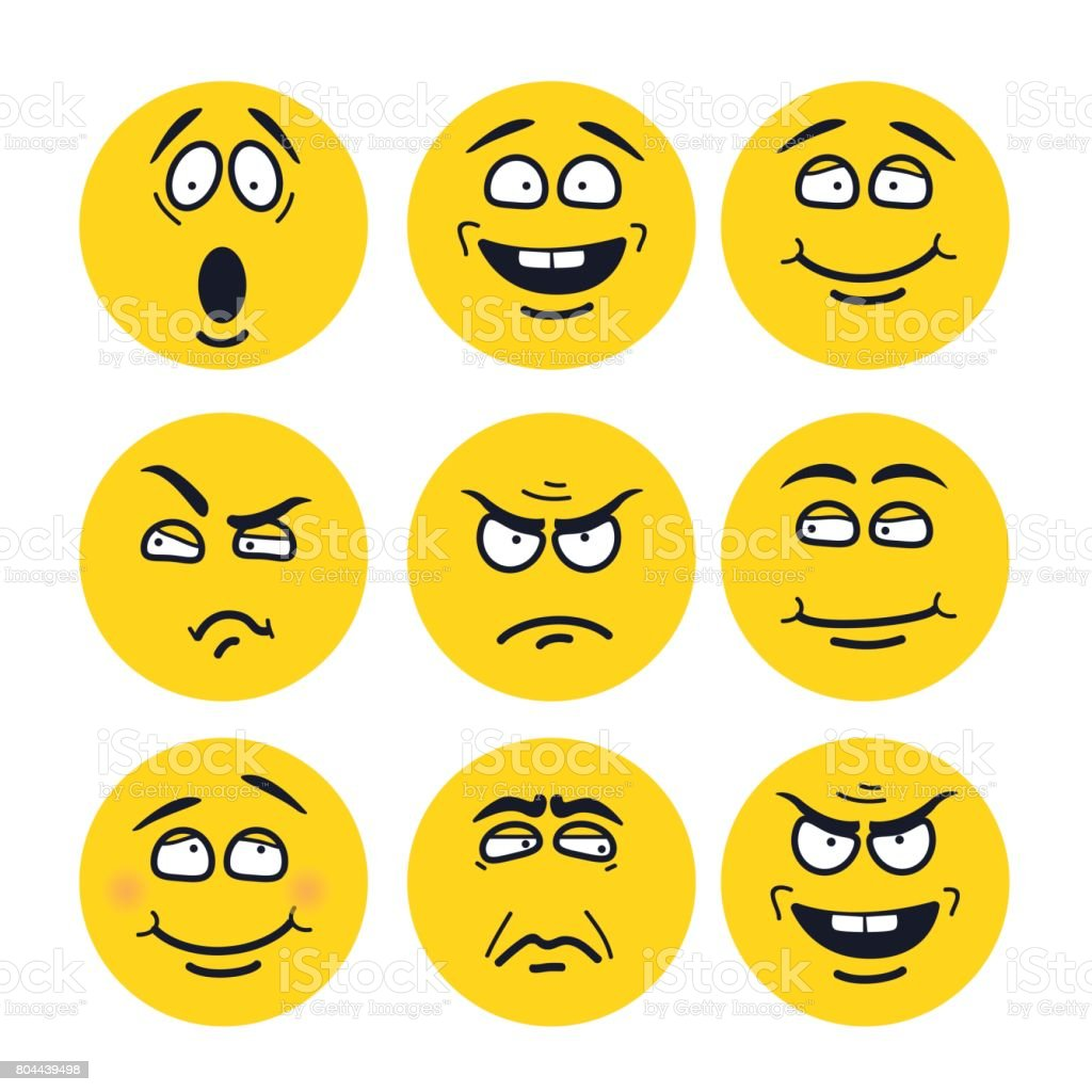 Vector cartoon faces with expressions. Emotion set. vector art illustration