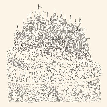 Vector cartoon fairy island with castle and houses, mermaids on sea cliffs, on a beige background. Hand drawn black and white doodle sketch. Zen tangle Tee shirt print. Adults and children coloring book page