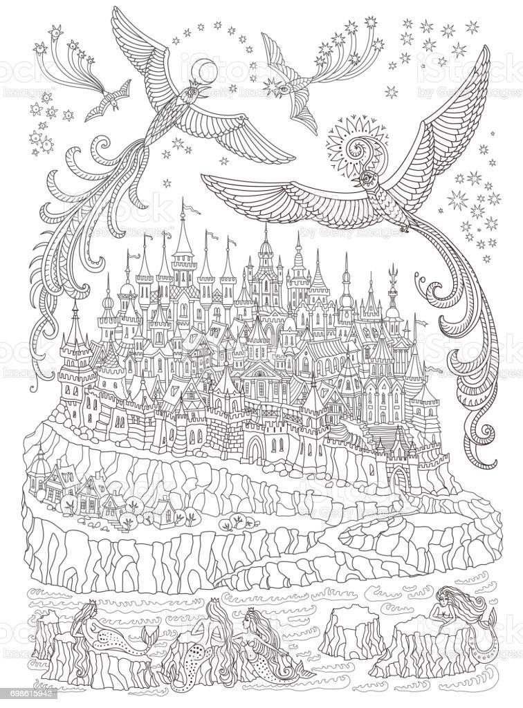 Vector Cartoon Fairy Insel Mit Burg Und Häuser Meerjungfrauen Auf ...