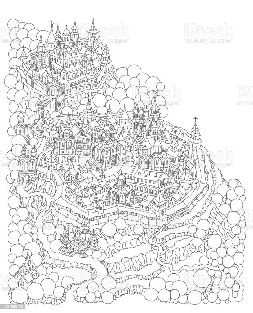 Vector Cartoon Märchen Insellandschaft Mit Burg Und Häuser Fantasy ...