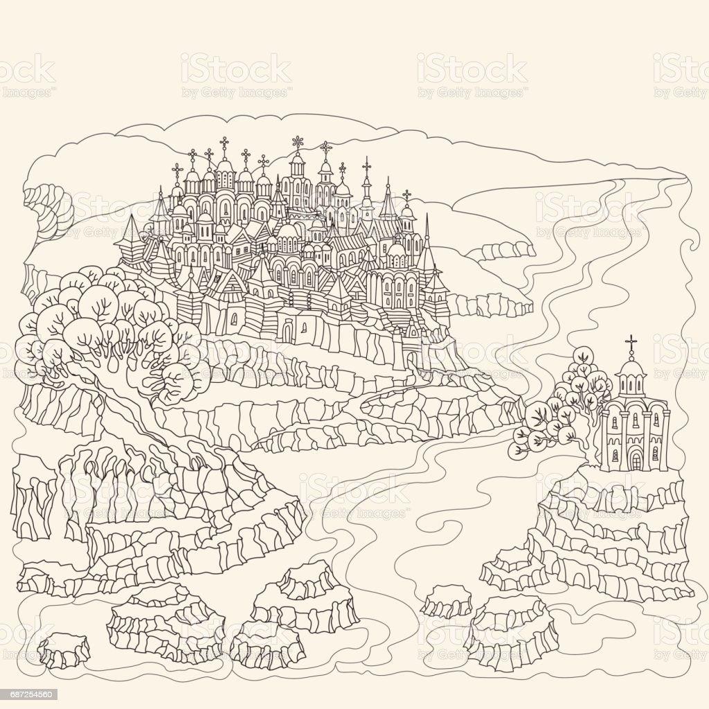 Vektorcartoonmärchenlandschaft Mittelalterliche Burg Mit Altstadt ...