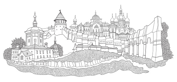 Vector cartoon fairy tale landscape with ancient Russian medieval town. Hand drawn black and white doodle sketch of fort castle and church. Adults and children coloring book page
