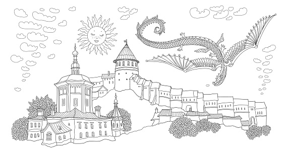 Vector cartoon fairy tale landscape with flying snake dragon. Hand drawn black and white Doodle sketch of ancient Russian medieval town with fort castle and church. Adults and children coloring book page