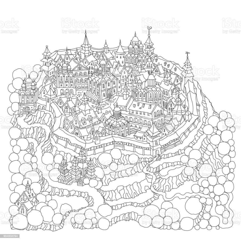 Vector Cartoon Märchen Felseninsel Landschaft Mit Burg Häuser Und ...