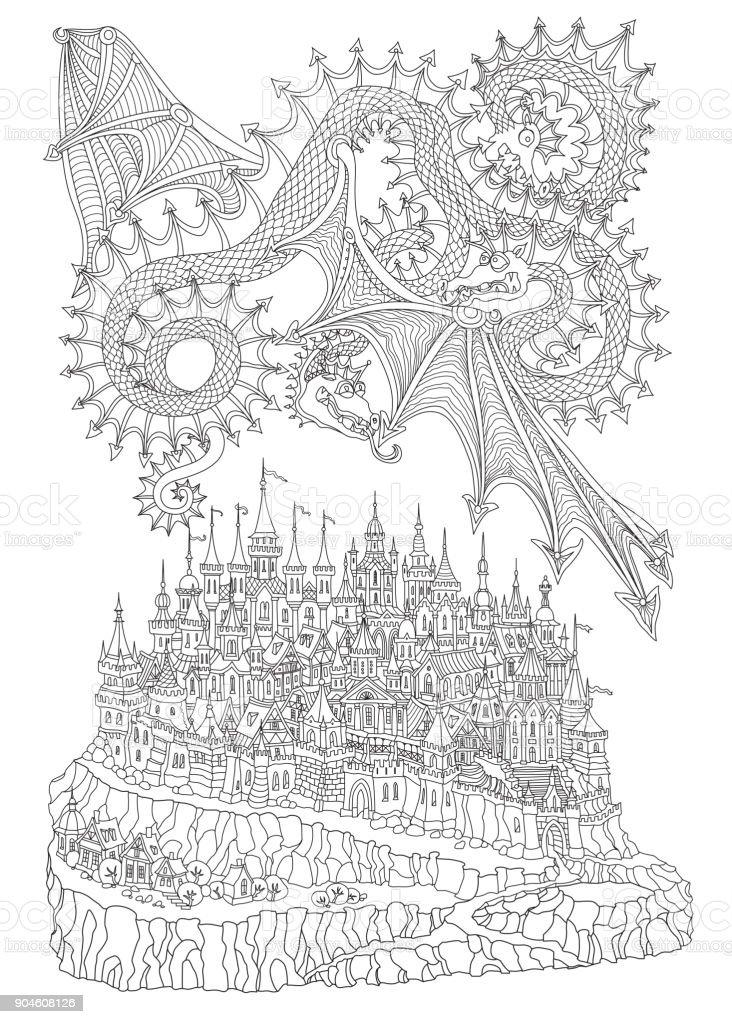 Ilustración de Vector De La Historieta Del Cuento De Hadas Isla ...
