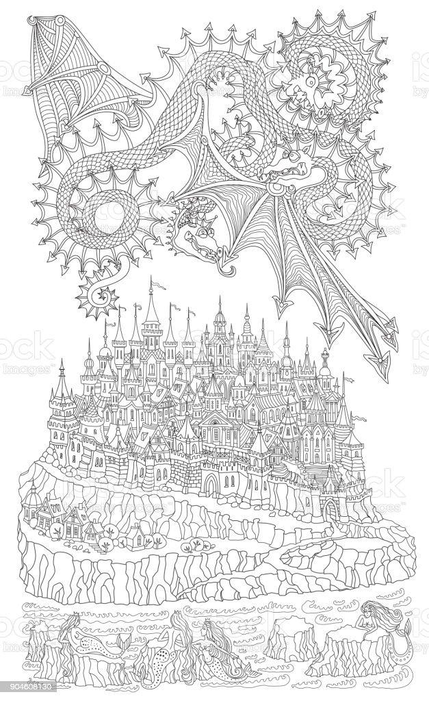 Ilustración de Vector De Dibujos Animados Cuento Isla Rocosa El ...