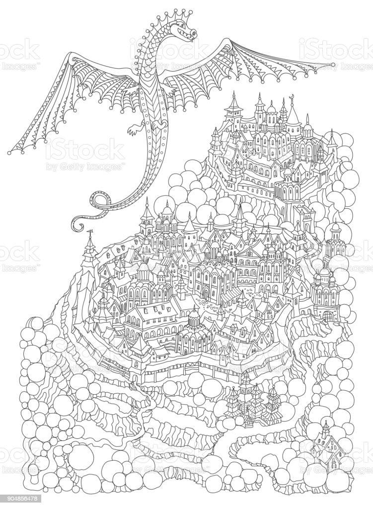 Vector Cartoon Märchen Felseninsel Landschaft mit Burg, Häuser und fliegenden Drachen. Handskizze gezeichneten schwarz-weiß Doodle. Fantasy-t Shirt Druck. Erwachsene und Kinder Malvorlagen Buch – Vektorgrafik
