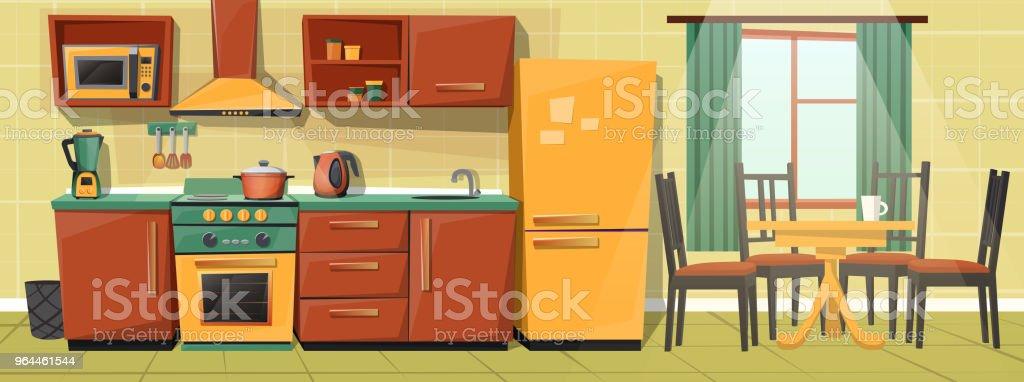 Ilustración de Cocina Familia De Dibujos Animados De Vector Con Los ...