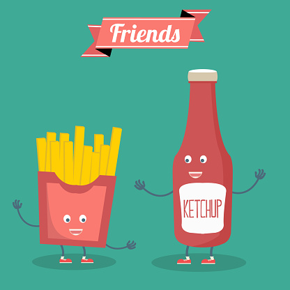 Vector cartoon. fast food. Friends forever. French fries, hamburger and ketchup.
