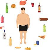 Vector cartoon fat man and unhealthy food