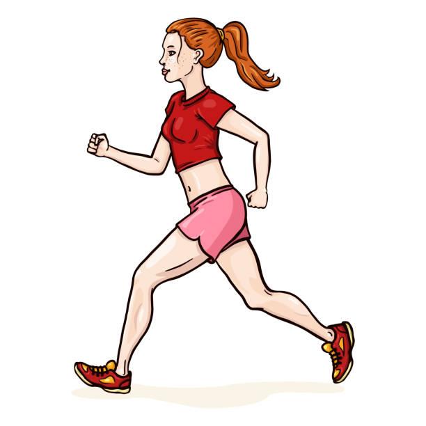 illustrations, cliparts, dessins animés et icônes de personnage féminin de dessin animé vectoriel. jogging cheveux roux jeune femme. - femme tache de rousseur