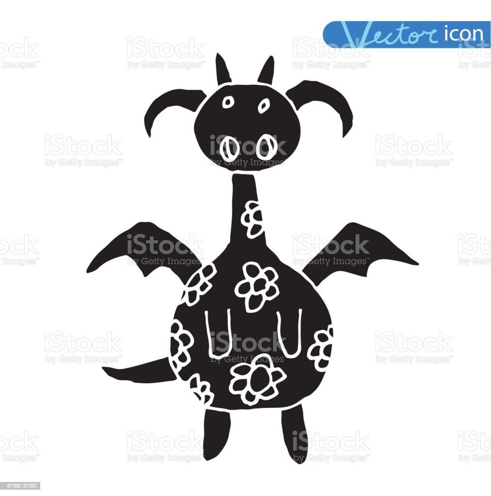 Vector - cartoon feu icône de dragon. vector cartoon feu icône de dragon – cliparts vectoriels et plus d'images de cartoon libre de droits