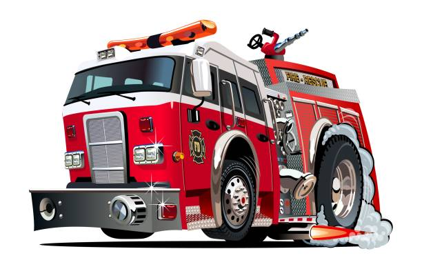 Vector cartoon firetruck Vector cartoon firetruck. Available EPS-10 vector format separated by groups and layers for easy edit fire engine stock illustrations