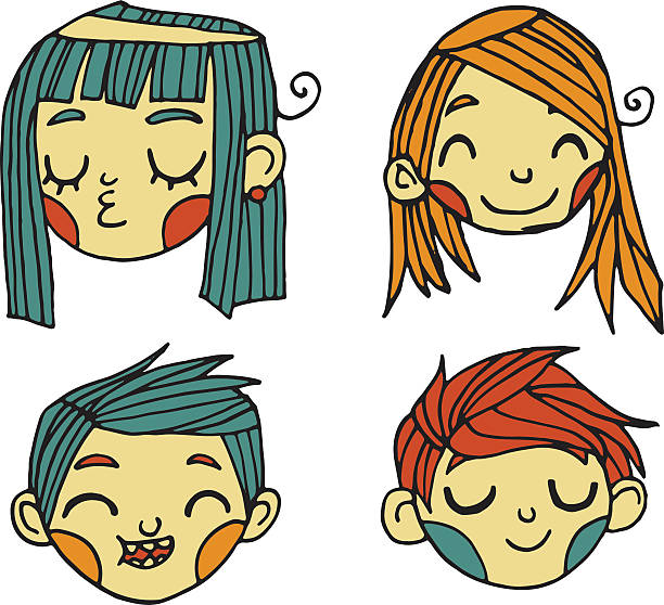 Vector cartoon flat cute faces set icon stickers. vector art illustration