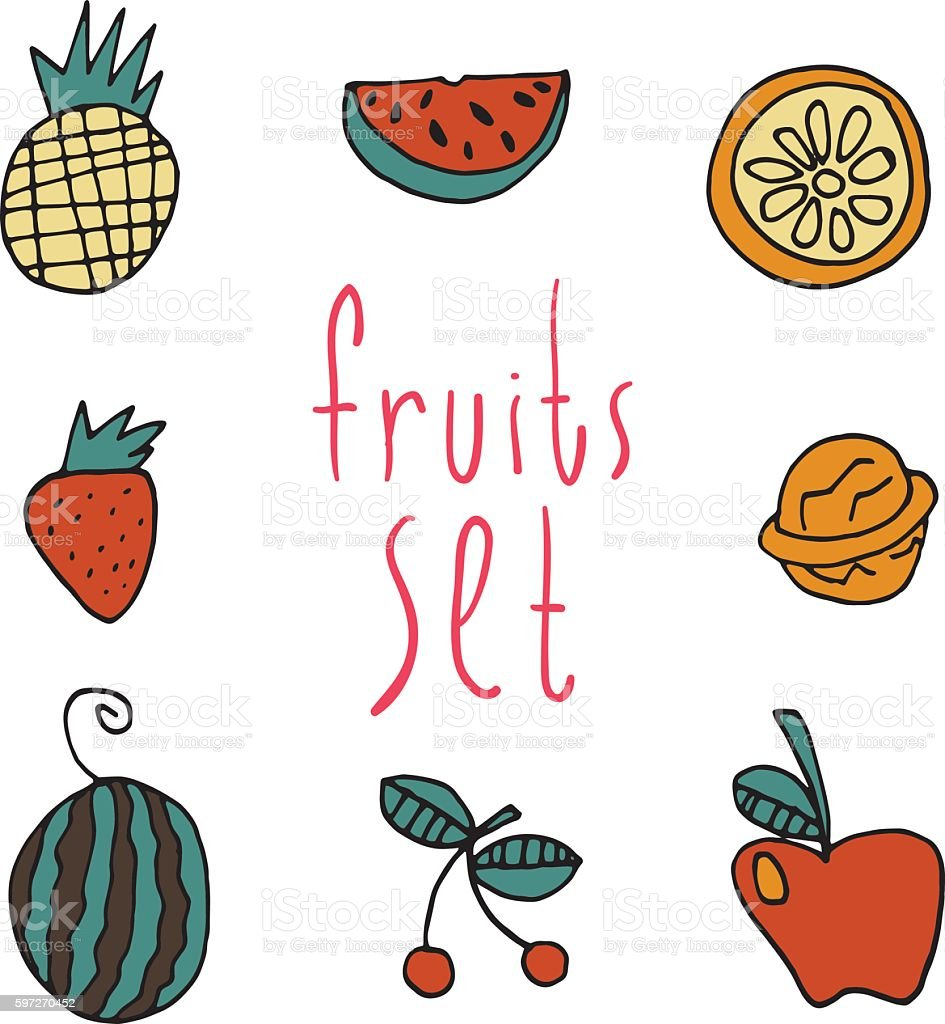 Vector cartoon flat fruits set icon stickers. royalty-free vector cartoon flat fruits set icon stickers stock vector art & more images of banana
